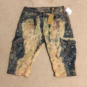 Robins Jean Heavily Distressed Cargo Shorts Sz 30